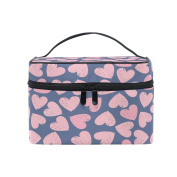 Makeup Bag, Pink Hearts Pattern Cosmetic Toiletry Storage Organiser Case Large Travel Handle Personalised Pouch with Compartments for Teenage Girl Women Lady Purple
