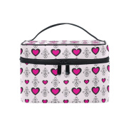 Makeup Bag, Pink Hearts Vintage Print Cosmetic Toiletry Storage Organiser Case Large Travel Handle Personalised Pouch with Compartments for Teenage Girl Women Lady