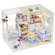 [Doll House] DIY 3D Dollhouse Paper Miniature Furniture Kit LED Light Kids Grils Gift