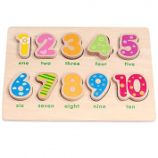 Lewo Wooden Numbers Puzzles Preschool Early Development Educational Toys for Kids Toddlers 10 Pieces