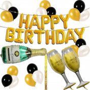UTOPP Happy Birthday Letter Party Balloons Banner,Theme Birthday Decoration Champagne Bottle Goblet Big Foil Mylar Foil Balloons Thick Latex Balloons Gold Black and White for Party Supplies Kit