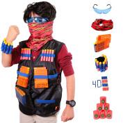 Tactical Vest Kit For Nerf Guns N-Strike Elite Series, 40 Refill Soft Tip Darts, 6 Bullet Target Foam Cans, 2 Reload Clips, Protective Glasses, Mask, Wrist Band - Full And Premium Package