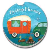 CounterArt Absorbent Stoneware Car Coaster, Creating Memories-Camping