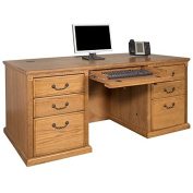 Bowery Hill Double Pedestal Executive Desk in Distressed Wheat