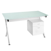 ModernLuxe Computer Desk Home Office Table with Glass Top and Storage Drawers White