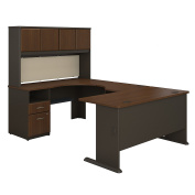 Bush Business Furniture Series A 60W U Shaped Desk with Hutch and 2 Drawer Pedestal in Sienna Walnut and Bronze
