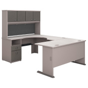 Bush Business Furniture Series A 60W U Shaped Desk with Hutch and 2 Drawer Pedestal in Pewter and White Spectrum