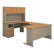 Bush Business Furniture Series A 60W U Shaped Desk with Hutch and 2 Drawer Pedestal in Light Oak and Sage