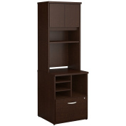 Bush Business Furniture Series C 24W Piler Filer Cabinet with Hutch in Mocha Cherry