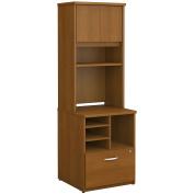 Bush Business Furniture Series C 24W Piler Filer Cabinet with Hutch in Warm Oak