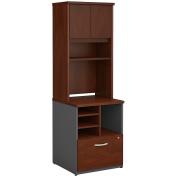 Bush Business Furniture Series C 24W Piler Filer Cabinet with Hutch in Hansen Cherry