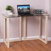 110cm Tempered Glass Top Console Desk Sofa Accent Table Wood Entryway Furniture