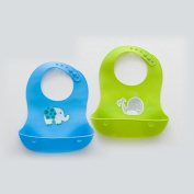 Waterproof Soft Silicone Baby Bibs - Set of 2 easy clean Bibs - Blue & Green with animals