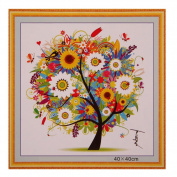 Demiawaking Counted Cross Stitch Kit DIY Colourful Four Season Tree Embroidery Home Decor- Ideal for beginners Or Art Enthusiast