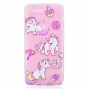 Pattern Printing Embossment Soft TPU Protector Case for OnePlus 5T - Doughnut and Unicorn
