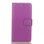Litchi Texture Folio Flip PU Leather Cover Case for ZTE Blade A601 - Purple