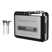 ALLCACA Cassette Player Portable Cassette to MP3 Converter USB Cassette Player Tape-to-MP3 Converter with Earphone, Black and Silver