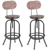 iKayaa Industrial Bar Stool Height Adjustable Swivel Kitchen Dining Chair With Backrest, Set of 2 Bar Stools