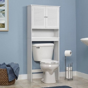 Classic White Louvred Over the Toilet Space Saver Bathroom Cabinet Shelf Linen Storage
