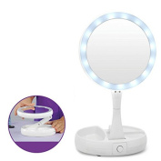 Vanity Mirror LED Lighted Makeup Mirror 1X/10X Magnifying Two-Sided Compact Travel Mirror