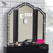 LED Vanity Lights Mirror Kit - With FREE!! 10X MAGNIFYING MIRROR!! - Hollywood Style Lighted Light Strip Set - Dimmable Bedroom, Bathroom or Makeup Dressing Table Set - Daylight White Lighting Fixture