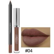 Poluck Matte Lipstick 2 PC/Set Lip Gloss+ Lip Liner Long Lasting Finish Beauty Lip Gloss Waterproof Long Lasting Durable