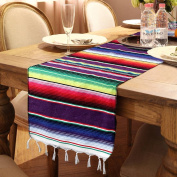 OurWarm 36cm x 210cm Mexican Serape Table Runner for Mexican Party Wedding Decorations, Fringe Cotton Table Runner