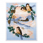 Collection D'Art - Printed Aida Fabric - Sparrows - Birds