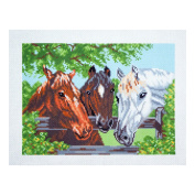 Collection D'Art - Printed Aida Fabric - Three Horses