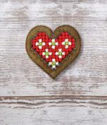 Heart Plywood Christmas Ornament Cross Stitch Kit