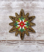 Star Plywood Christmas Ornament Cross Stitch Kit