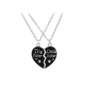 Youkara Black Best Sister Heart Pendant Necklace Jewellery for Woman