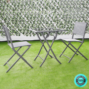 SKEMiDEX---3 Pcs Bistro Set Garden Backyard Table Chairs Outdoor Patio Furniture Folding. Perfect choice for you and your family or friends enjoy the outdoor living space together