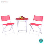 SKEMiDEX--- 3 PCS Folding Bistro Table Chairs Set Garden Backyard Patio Furniture Red New It enjoyable to have breakfast or afternoon tea in the garden or other outside space with this comfortable .