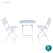 SKEMiDEX--- 3 PCS Folding Bistro Table Chairs Set Garden Backyard Patio Furniture White New It enjoyable to have breakfast or afternoon tea in the garden or other outside space with this comfortable.