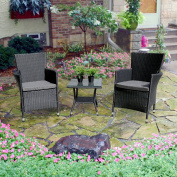 3PC Patio Outdoor Rattan Furniture Set Cushioned Garden Table and Chairs with Grey Cushions, Black PE Wicker