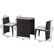 3PC Outdoor Wicker Rattan Furniture Set Cushioned Patio Chair Sofa + eBook