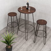 MD Group Table Bistro Stool Set 3Pcs Wood Round Elegant & Modern Design Extra Stability Bar Table