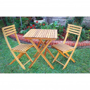 3-Pc. Folding Outdoor Acacia Hardwood Bistro Set — Table and 2 Chairs
