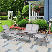 4 pcs Outdoor Conversation Tempered Glass Table Furniture Set