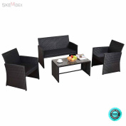 SKEMiDEX--- 4 PCS Patio Rattan Wicker Furniure Set Sofa Coffee Table W/ Black Cushions New and brand new. Including 1 loveseat, 2 single sofa and 1 coffee table with tempered glass top.