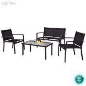 SKEMiDEX--- 4 PCS Patio Furniture Set Sofa Coffee Table Steel Frame Garden Deck Black In a word it's an ideal furniture for you and your guests' comfort and convenience with good price.