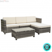 SKEMiDEX---5 PC Outdoor Patio Rattan Furniture Set Sectional Cushioned Galvanised Grey NEW. It is perfect for the pool side, deck or patio, these cushioned seats will let you and your guests