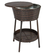 Outdoor Patio Wicker Ice Bucket All Weather Beverage Cooler with Tray Furniture + eBook