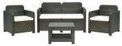 Patio Conversation Set - 2 Chairs, Love Seat, Coffee Table - Black Poly Rattan - Made in Italy - S7705Y Sorrento