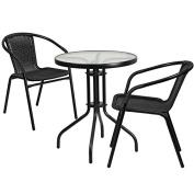 Skovde 3-pcs Table Set Round 60cm Glass w/2 Black Rattan Stack Chairs