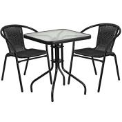 Skovde 3-pcs Table Set Square 60cm Glass w/2 Black Rattan Stack Chairs