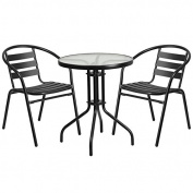 Skovde 3-pcs Table Set Round 60cm Glass w/2 Black Aluminium Slat Stack Chairs