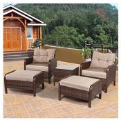 MD Group Patio Sofa Ottoman Furniture Set Rattan Comfortable Seat Cushion Outdoor Garden Chair