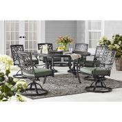 Outdoor Patio 8pc Aluminium LAZY SUSAN Table Dining Set w/ SUNBRELLA Cushions